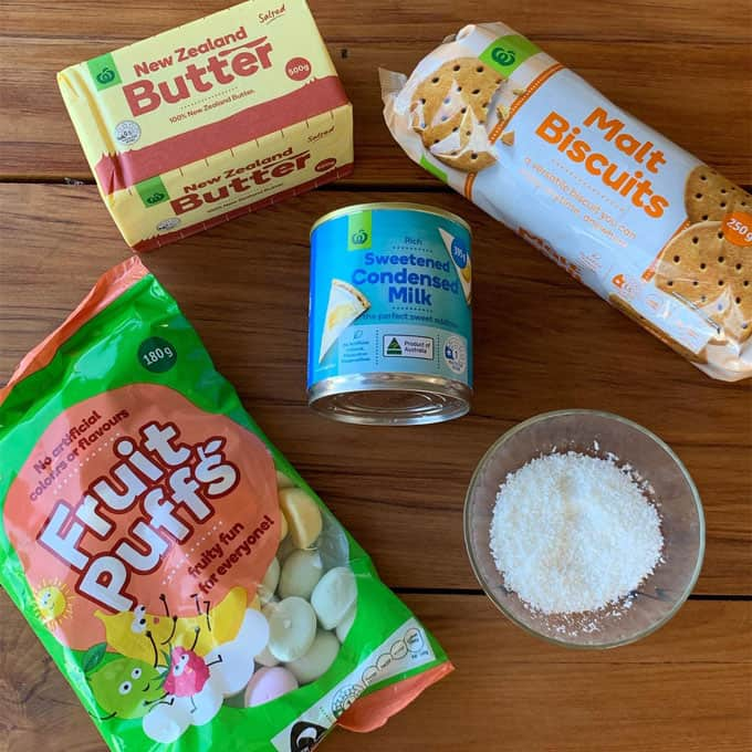 lolly cake ingredients - fruit puffs - condensed milk - butter - coconut - malt biscuits