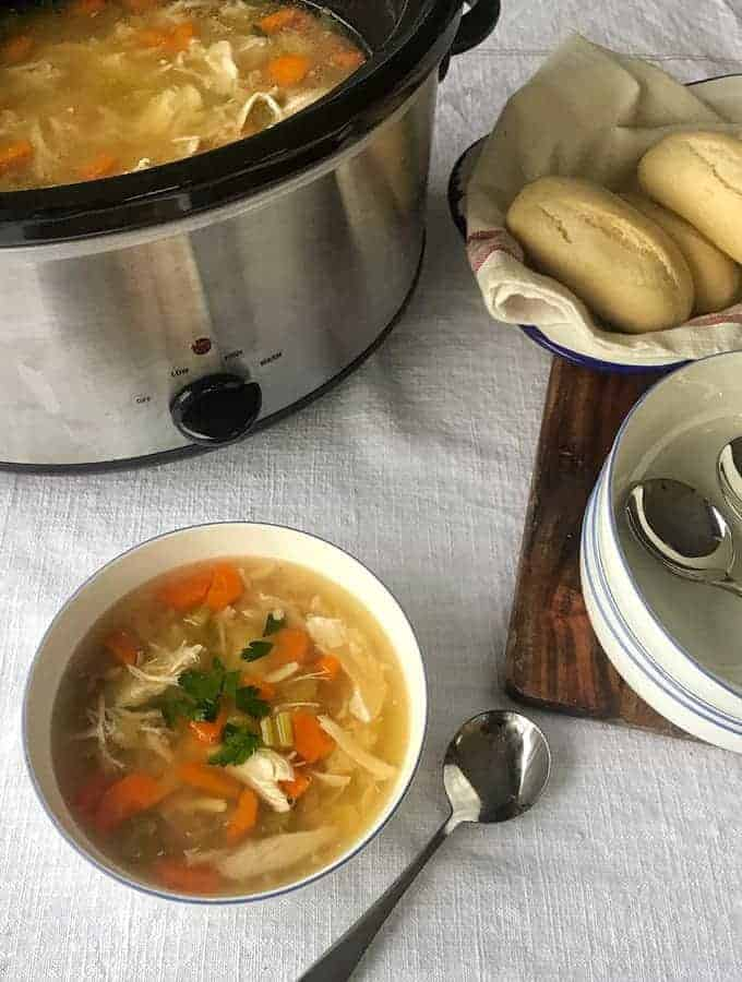 Slow cooker whole chicken soup