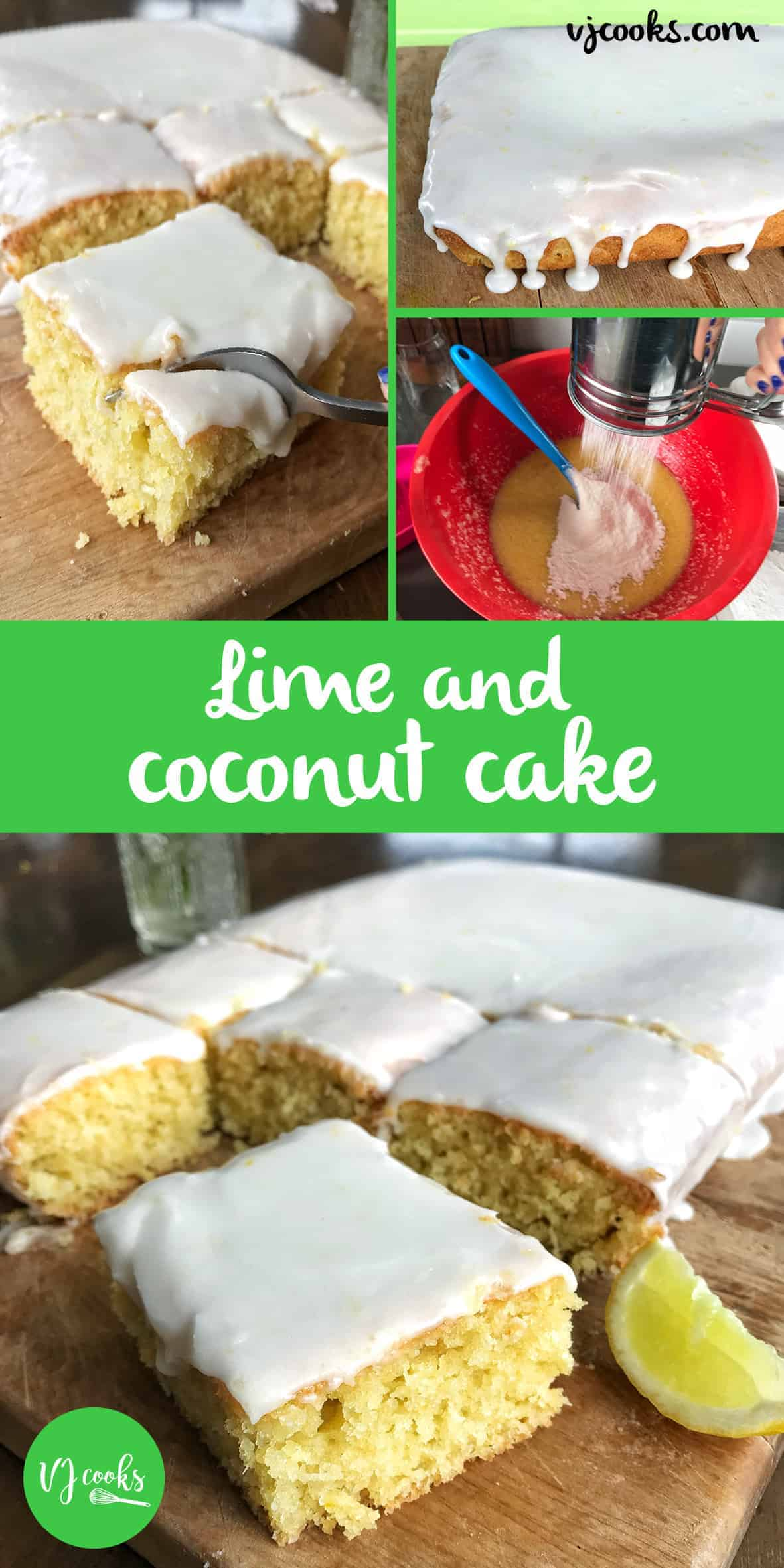 Dairy-free lime and coconut cake, easy recipe from VJ cooks. Lime and coconut sheet cake, lime and coconut tray cake. dairy free coconut and lime cake. Lemon and coconut cake. #limesheetcake #vjcooks #limeandcoconut