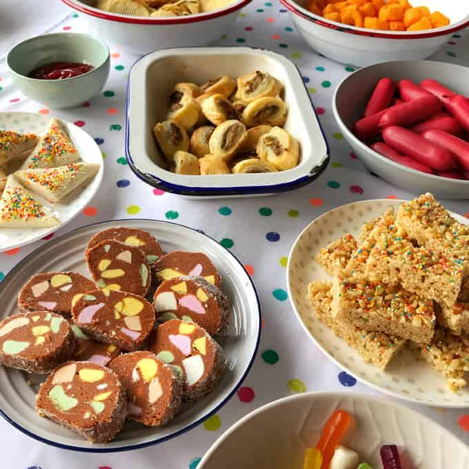 kiwi party food on a table, with lolly cake