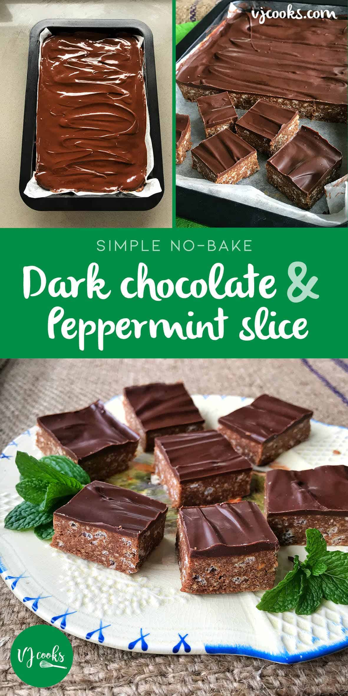 Delicious no-bake dark chocolate peppermint slice, easy recipe from VJ cooks