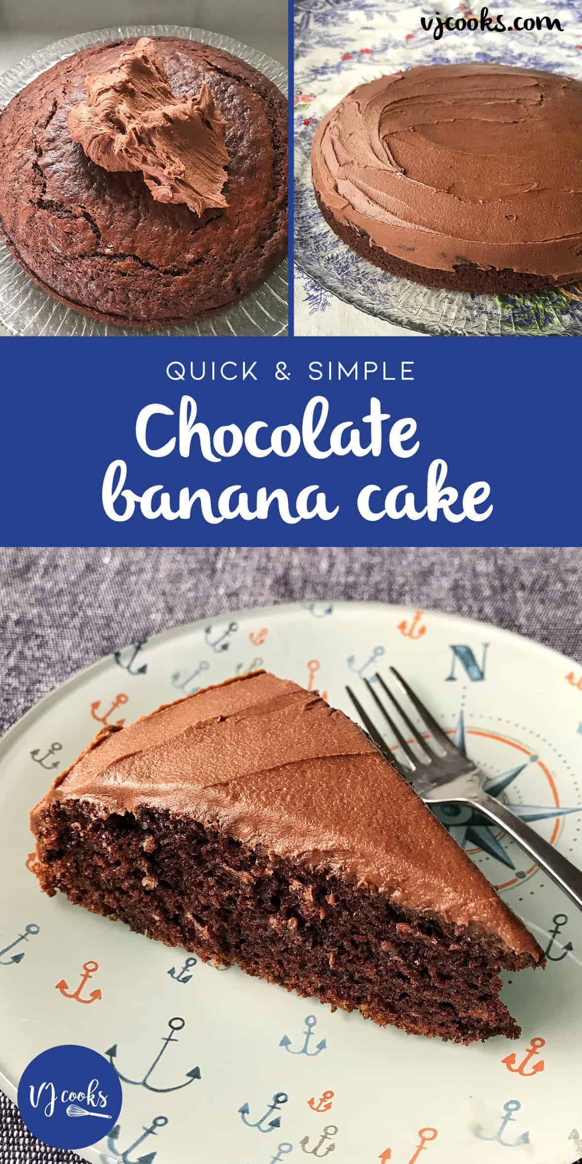 Quick and easy chocolate banana cake recipe by VJ cooks. #chocolatebananacake #vjcooks