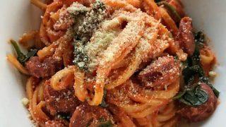 Quick chorizo creamy tomato pasta