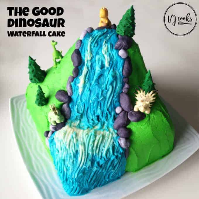 the good dinosaur waterfall cake easy DIY cakes from VJ cooks
