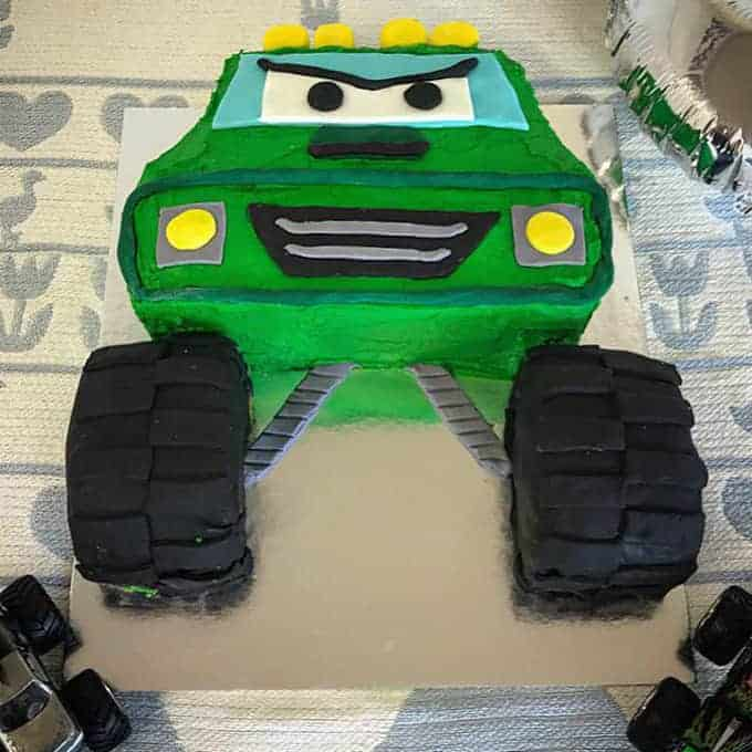 VJ cooks green monster truck cake easy DIY kids birthday cake