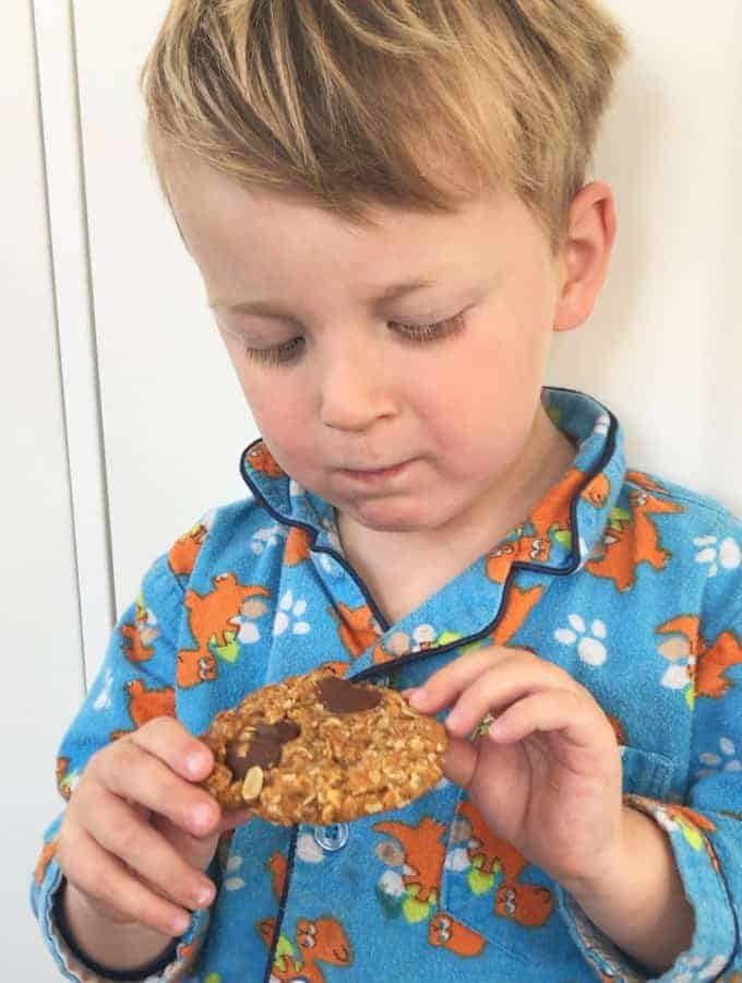 Easy ANZAC Biscuits with chocolate buttons recipe by VJ cooks