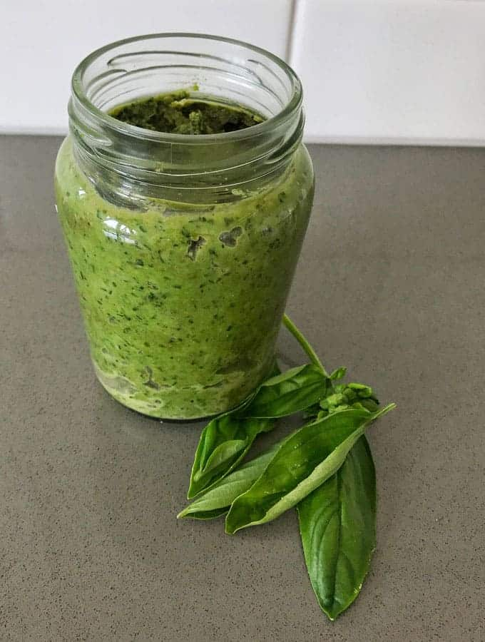 homemade cashew and basil pesto recipe by VJ cooks