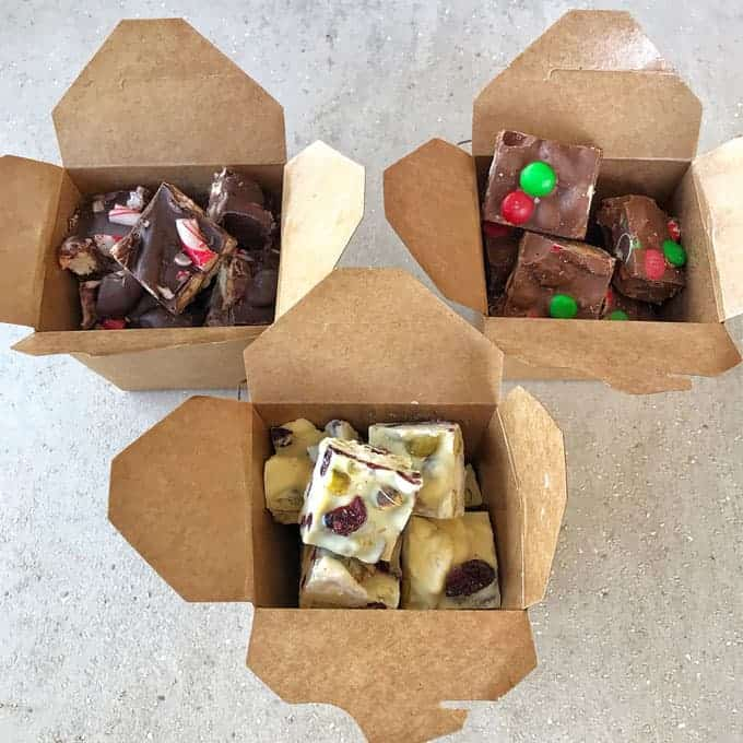 Christmas rocky road in gift boxes