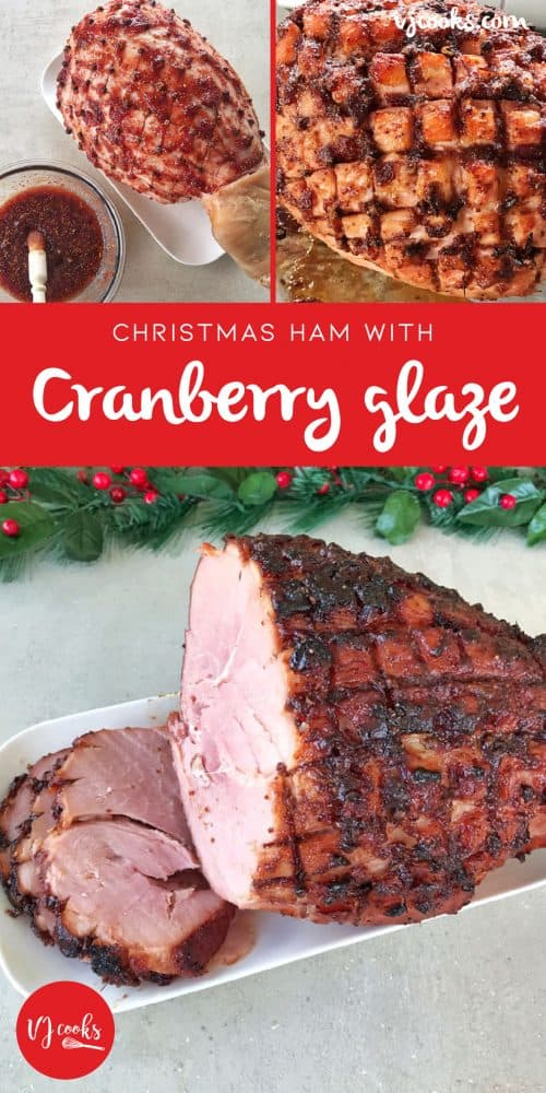 Christmas ham with cranberry glaze