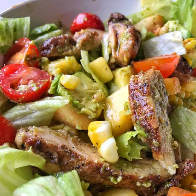 VJ cooks chargrilled chicken salad