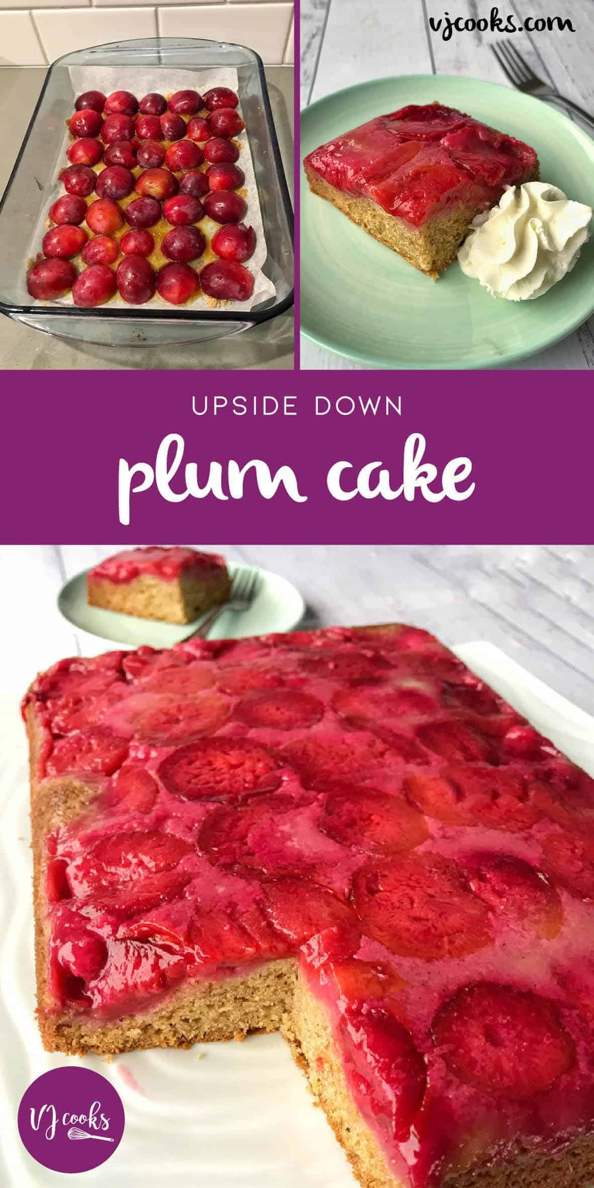 Upside down plum cake easy recipe by VJ cooks