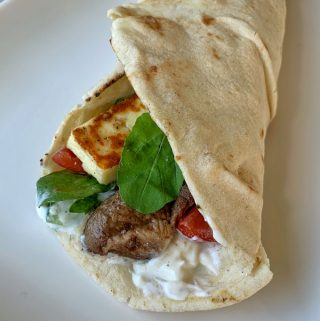 Lamb and haloumi wraps by VJ cooks