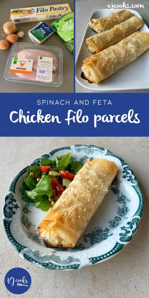 VJ cooks chicken, feta and spinach filo parcels