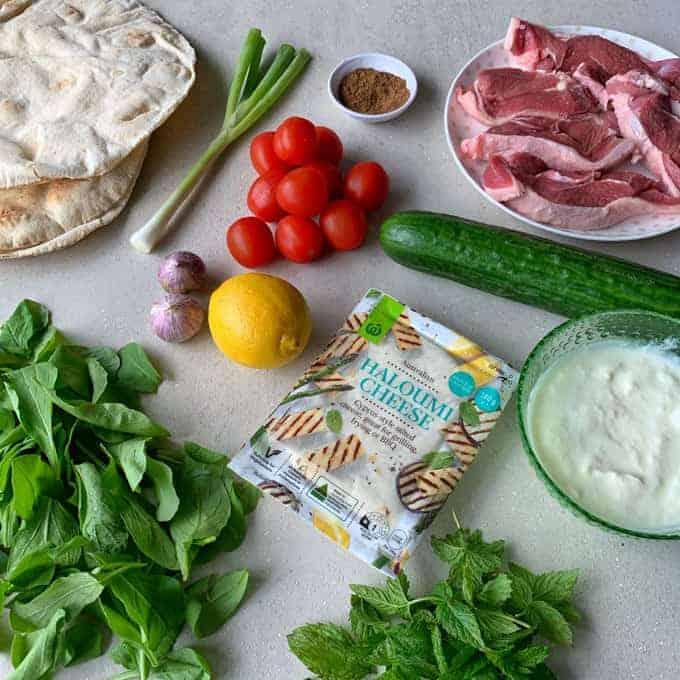 Vj cooks lamb and haloumi wraps