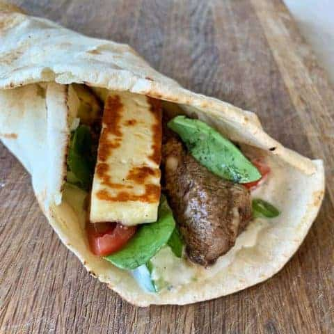 Lamb and haloumi wraps