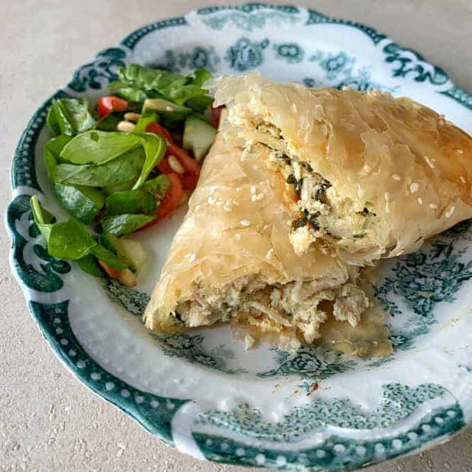 Chicken, spinach and feta filo parcels