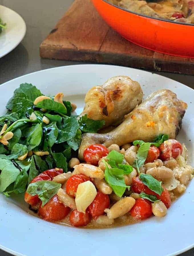 One pot chicken with white beans and tomatoes