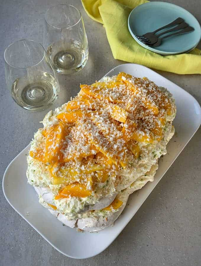layered mango pavlova recipe by VJ cooks