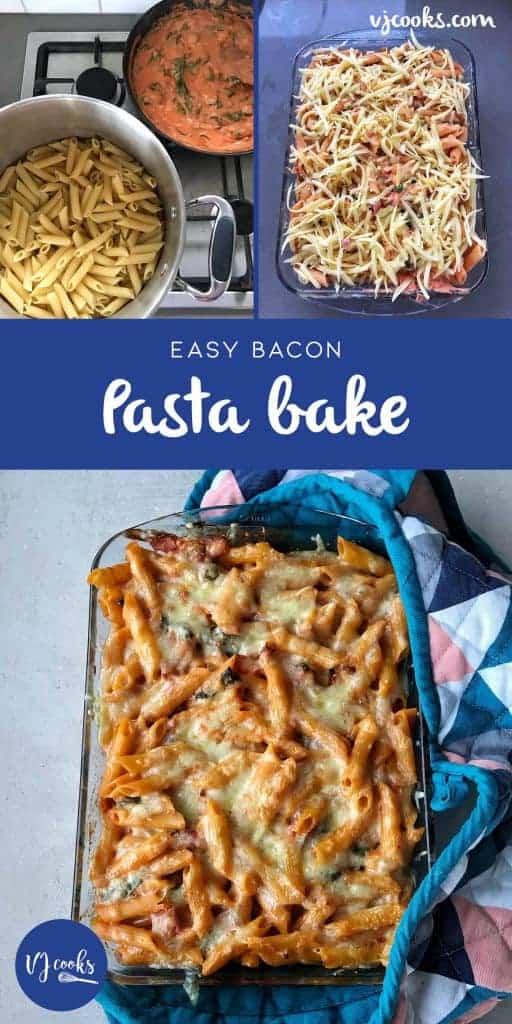 easy bacon pasta bake by vj cooks