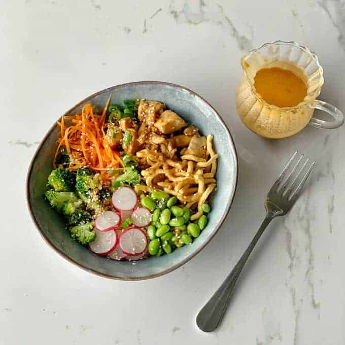 chicken buddha bowl with satay sauce from vj cooks