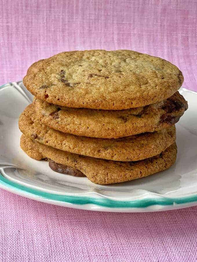 Chocolate chunk cookies in a pile recipe from VJ cooks