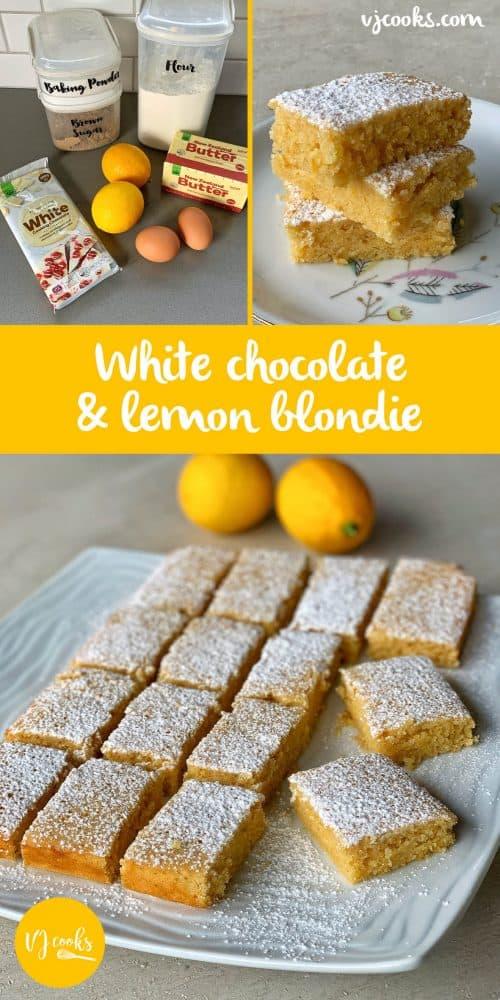 vj cooks white chocolate and lemon blondie