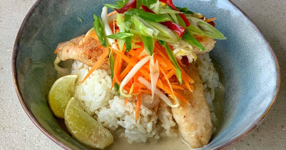 Pan Fried Fish with Thai green curry sauce