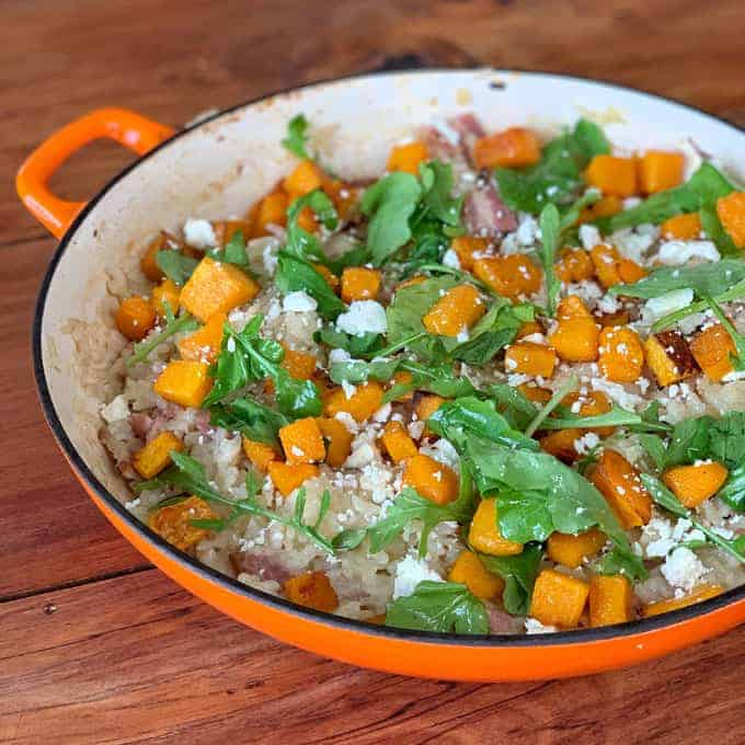 VJ cooks - bacon and butternut baked risotto