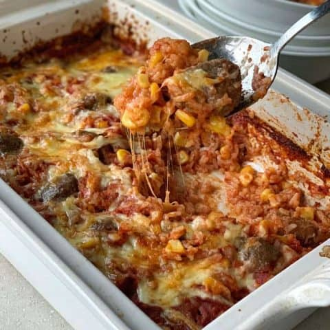 Baked Mexican Meatballs and Rice