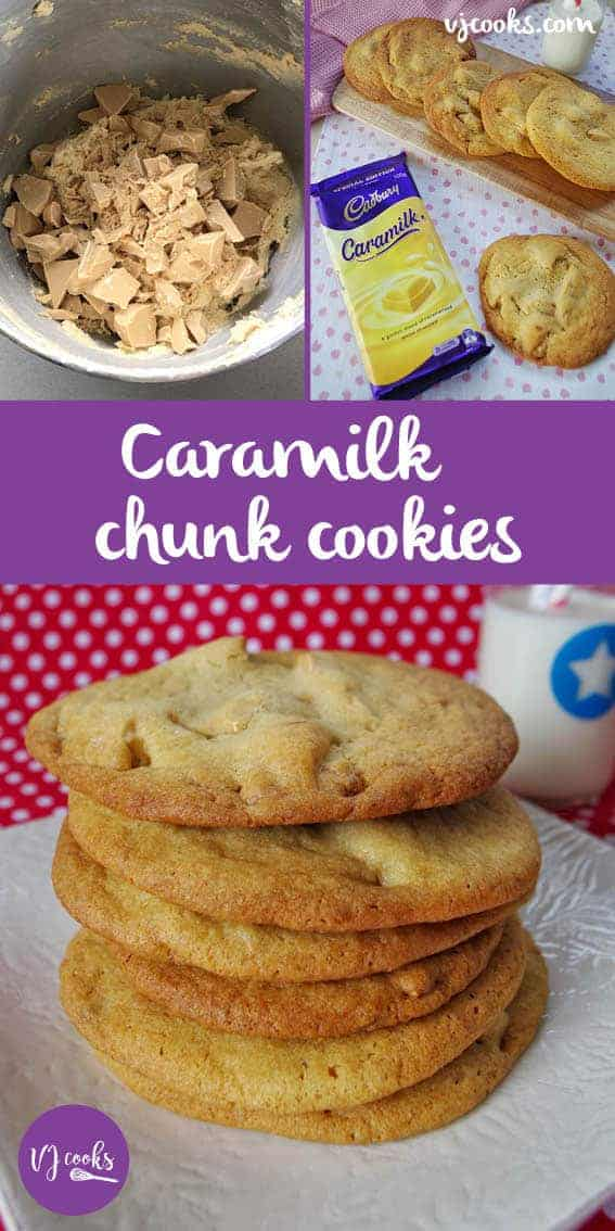 These Caramilk chunk cookies are so delicious with a crispy outside and chewy centre. Easy recipe plus step-by-step 1 minute video.