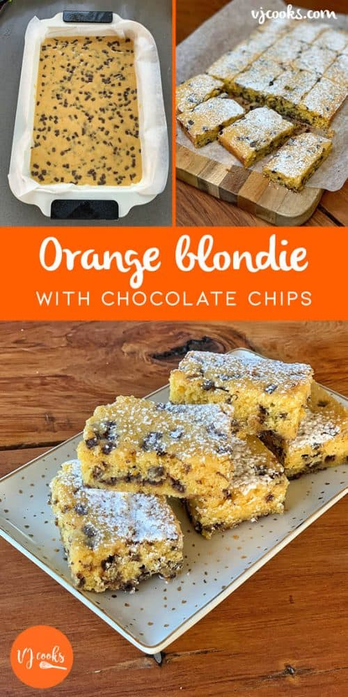 vj cook orange blondie with dark chocolate chips