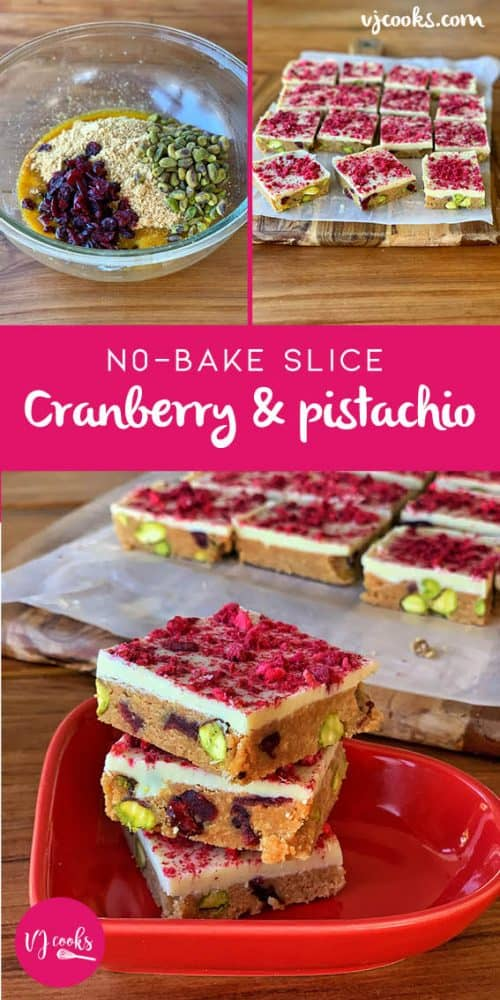 vj cooks cranberry and pistachio slice