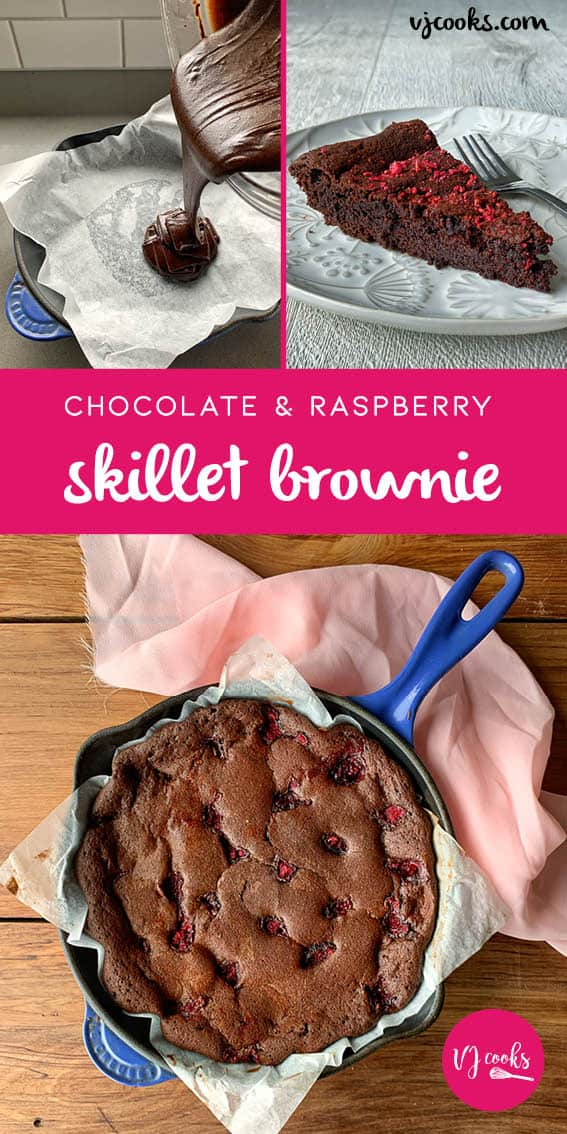 chocolate and raspberry skillet brownie