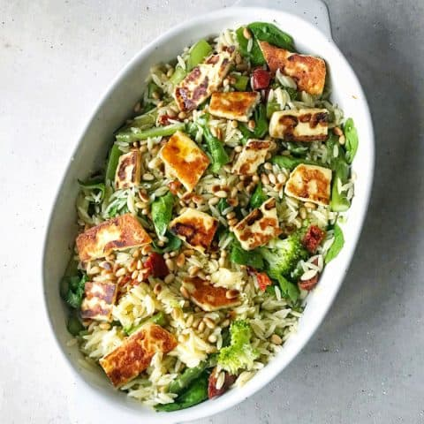 Orzo and halloumi salad