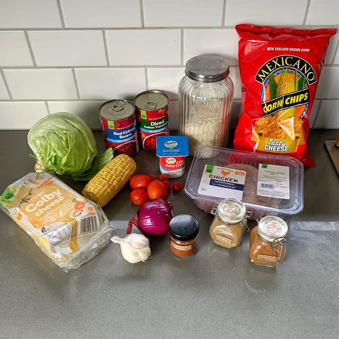 ingredients for chicken burrito bowls