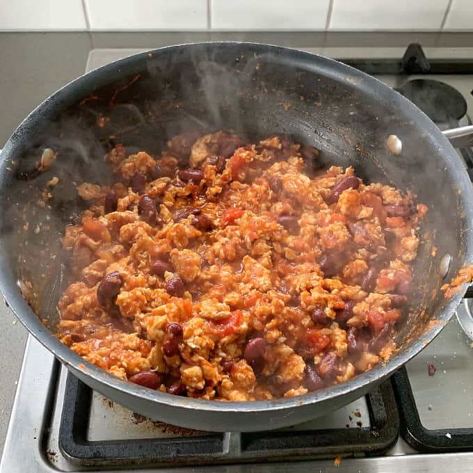 chicken mince frying for burrito bowls
