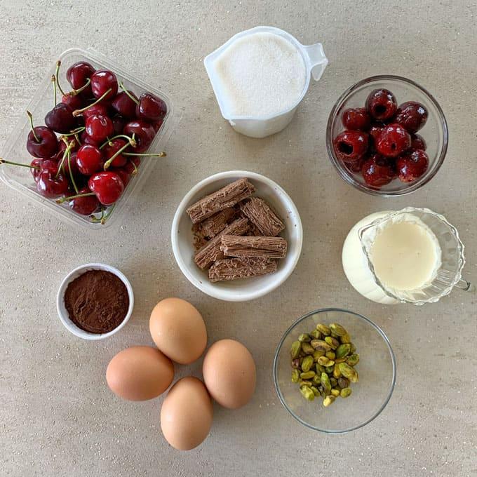 Chocolate cherry pavlova