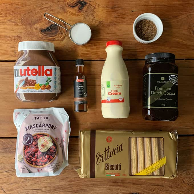 Nutellamisu ingredients
