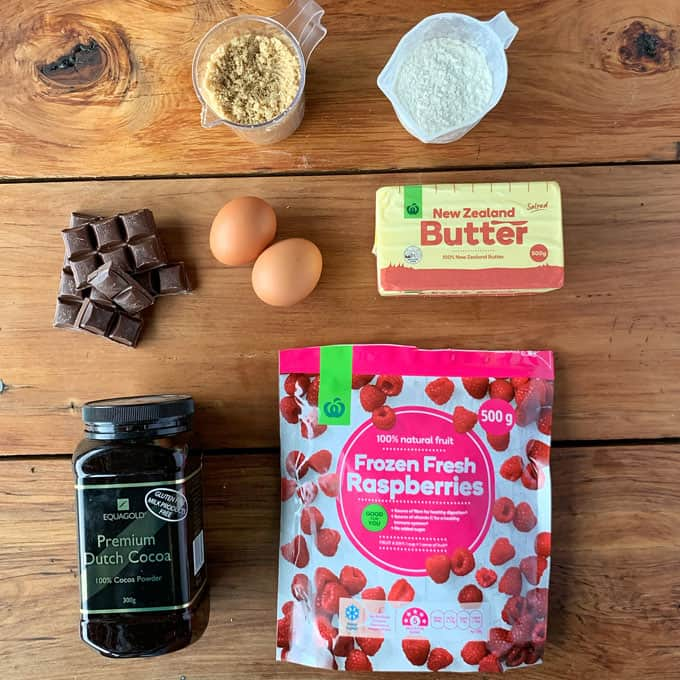 ingredients for raspberry and chocolate skillet brownie