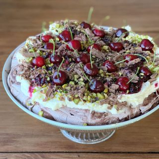 chocolate cherry pavlova