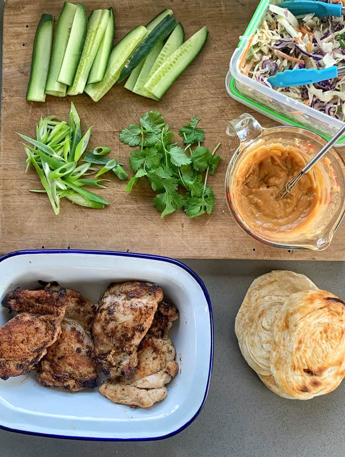 BBQ Chicken roti with satay sauce