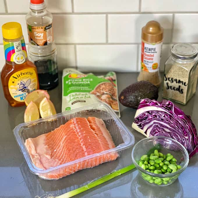 Salmon bowl ingredients