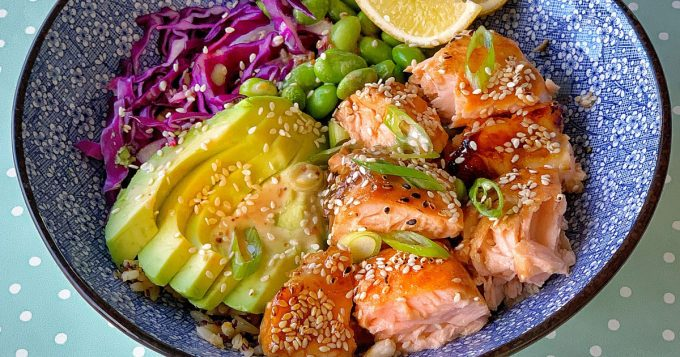 grilled honey soy salmon rice bowls