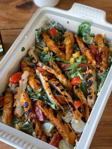 BBQ chicken, corn and potato salad