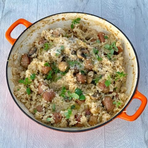 Baked risotto with mushroom and sausage