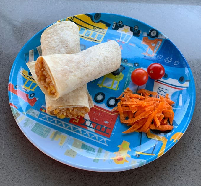 Mexican chicken and rice wraps for kids