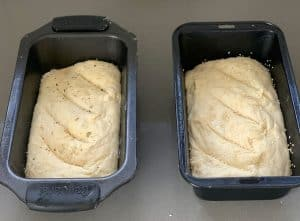no knead white bread in a loaf tin
