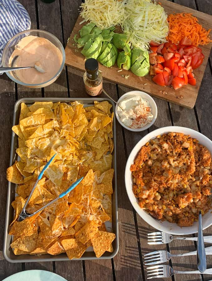 Mexican chicken and rice served up with grilled nachos and fresh veggies