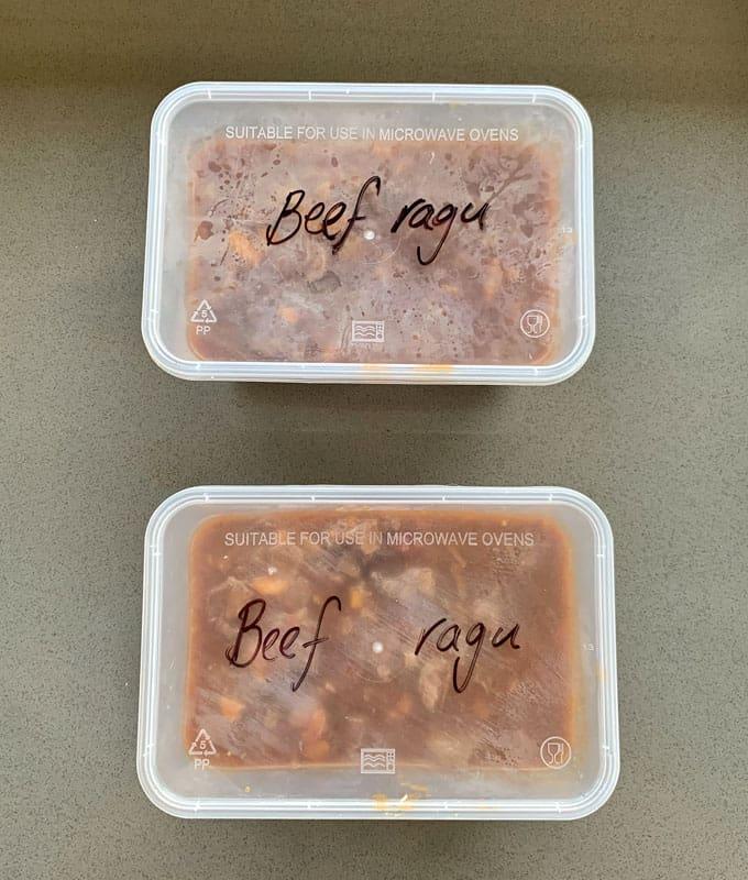 beef ragu ready for the freezer
