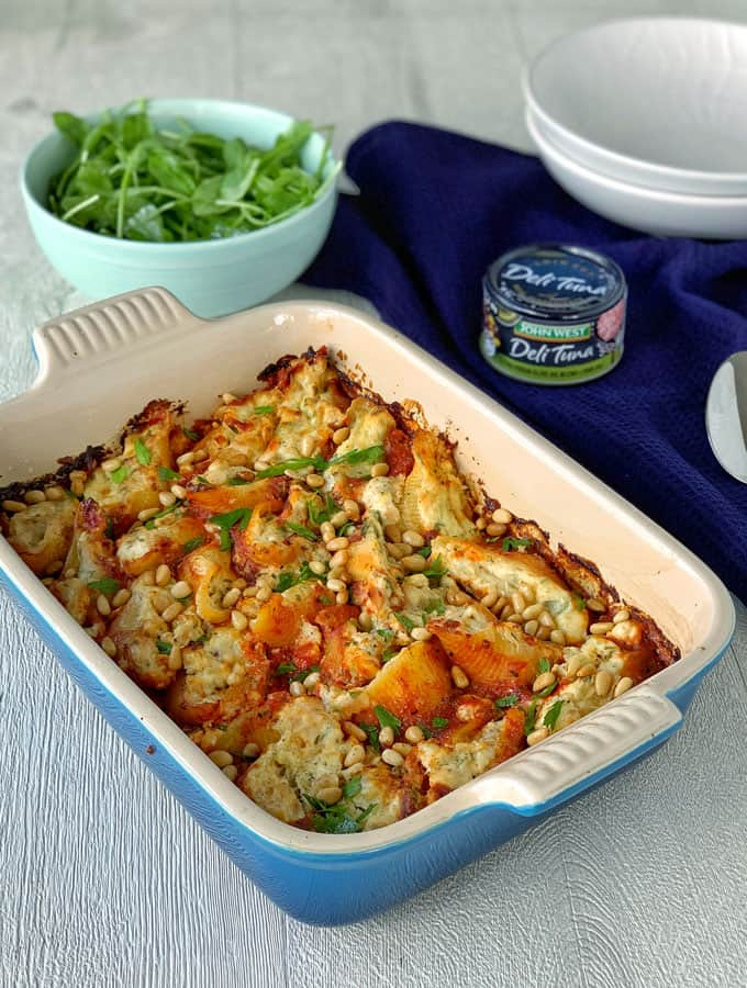 ricotta and tuna baked pasta shells